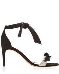 Alexandre Birman Wrap Around Suede And Python Sandals Black Pewter