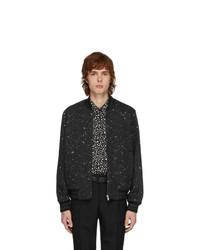 Saint Laurent Black And Silver Tweed Teddy Bomber Jacket