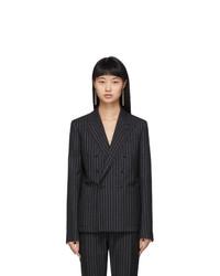 Saint Laurent Black And Silver Lurex Pinstripes Blazer