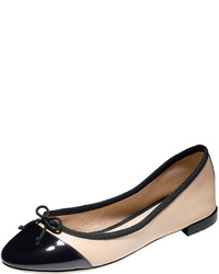 Black and Tan Leather Ballerina Shoes