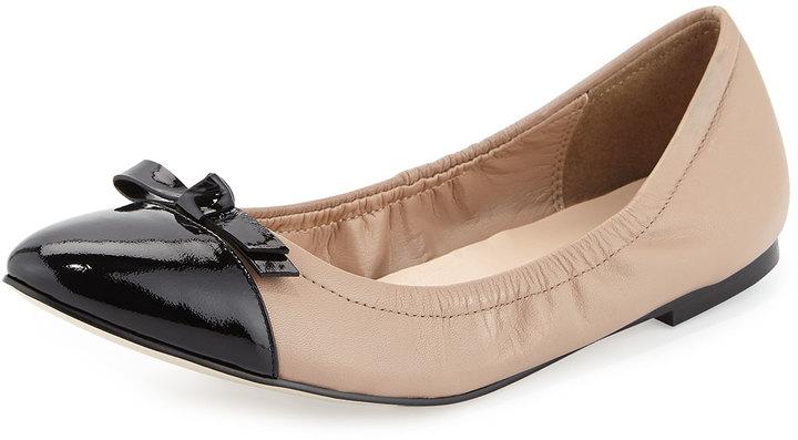 $139, Cole Haan Rosalie Cap Toe Ballerina Flat Maple Sugarblack