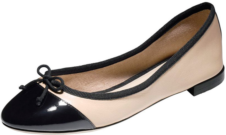 3d9c2f3b80 ... Black and Tan Leather Ballerina Shoes Cole Haan Sarina Cap Toe Ballet  Flat Frothblack ...