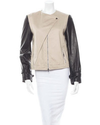 Black and Tan Leather Biker Jacket