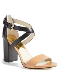 Black and Tan Leather Heeled Sandals