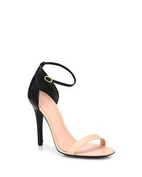 Alexander McQueen Bicolor Leather Ankle Strap Sandals
