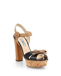 Prada Bicolor Leather Cork Platform Sandals