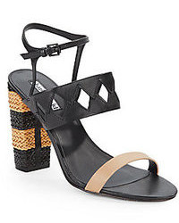 Charles David Two Tone Braided Leather Sandals