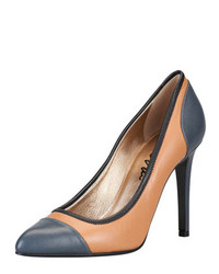Lanvin Colorblock Cap Toe Pointy Pump Steeltan