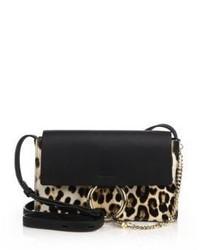 Chlo faye small leopard print calf hair leather crossbody bag medium 385370