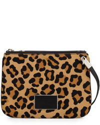 Marc by Marc Jacobs Ligero Leopard Print Calf Hair Double Percy Crossbody Bag Black Multi