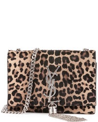 Saint Laurent Monogram Small Leopard Print Calf Hair Crossbody Bag Beigeblack
