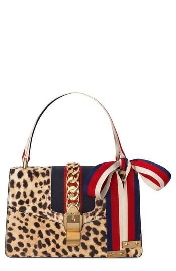 b4d779ff48fc ... Leopard Calf Hair Crossbody Bags Gucci Small Sylvie Genuine Calf Hair  Bag