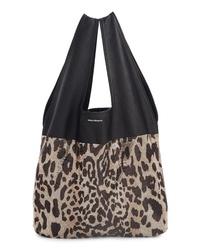 Paco Rabanne Leopard Print Mesh Lambskin Leather Hobo