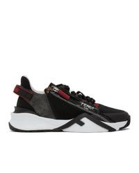 Fendi Black And Grey Suede Flow Sneakers
