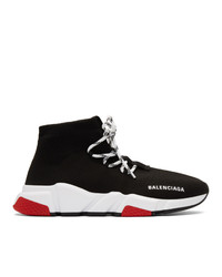 Balenciaga Black And Red Speed Lace Up Sneakers