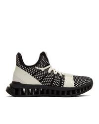 Z Zegna Black And White Techmerino A Maze Sneakers
