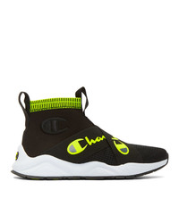 Champion Reverse Weave Black And Yellow Rally Crossover High Top Sneakers