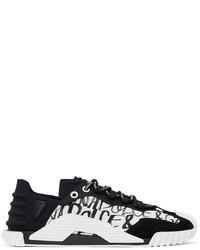 Dolce & Gabbana Black White Ns1 Graffiti Sneakers