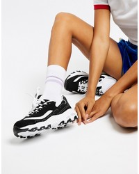 Skechers Dlite Trainers In Back And White Mono Key Item