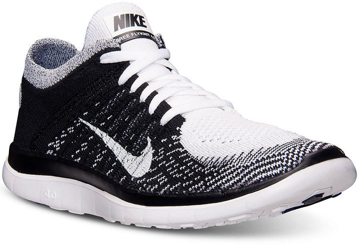 black and white athletic shoes nike free flyknit 40