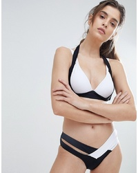 Amy Lynn Monochrome Bikini Set With Crossover Bikini Bottoms Black