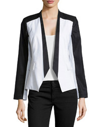 Paperwhite Colorblock Linen Blend Blazer Blackwhite
