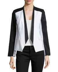 Paperwhite Colorblock Linen Blend Blazer Blackwhite