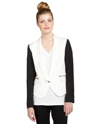 Nell White And Khaki Two Tone Buttoned Kara Blazer