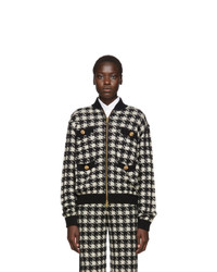 Gucci Black And Off White Short Houndstooth Bomber