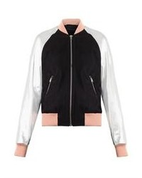 Eden leather sleeve bomber jacket medium 78632