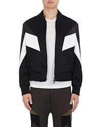 Neil Barrett Geometric Inset Leather Satin Bomber Jacket