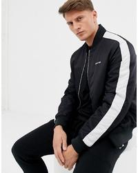 Calvin Klein Logo Stripe Satin Bomber In Black