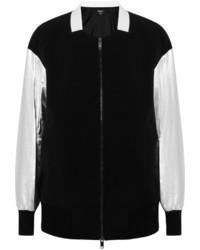 DKNY Metallic Leather Sleeved Stretch Twill Bomber Jacket