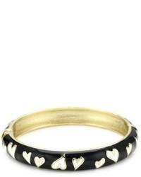 Betsey Johnson Black And White Heart Bangle Bracelet