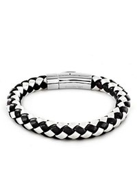 West Coast Jewelry Black And White Leather And Stainless Steel Beaded Bracelet