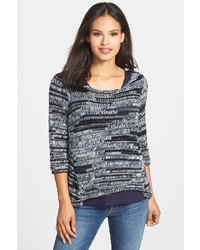 Eileen Fisher Marled Bateau Neck Sweater