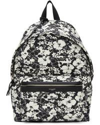 Saint Laurent Black White Hibiscus Toile Print City Backpack