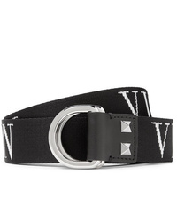 Valentino Garavani 35cm Black Logo Jacquard Webbing Belt