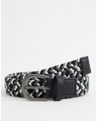 ASOS DESIGN Woven Slim Belt In Black White And Grey