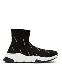 Balenciaga Black All Over Logo Speed High Top Sneakers