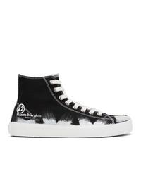 Maison Margiela Black And White Vandal Tabi High Top Sneakers