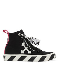 Off-White Black And White Vulcanized Mid Top Sneakers