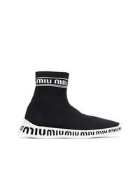 Miu Miu Black White Knitted Logo Sneakers