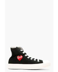 Comme des garons play black canvas heart logo converse edition high top sneakers medium 34701