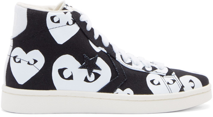 e85dc5eae7cd ... Comme des Garcons Comme Des Garons Play Black Heart Print Converse  Edition High Top Sneakers ...