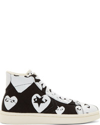 Comme des garons play black white heart print converse edition high top sneakers medium 421871