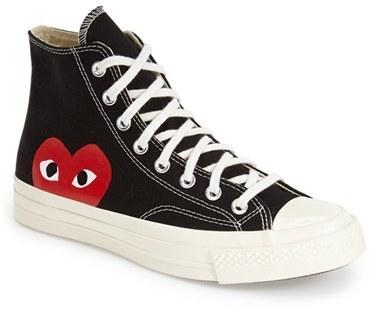 cdg high top converse black