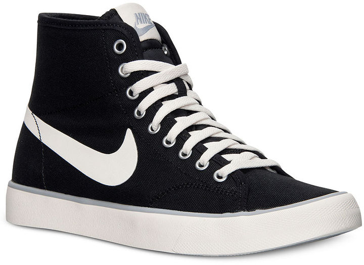 5ef6f53b01 ... Black and White Canvas High Top Sneakers Nike Primo Court Mid Canvas  Casual Sneakers From Finish Line ...