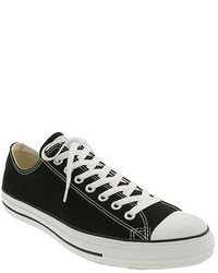 Black and White Canvas Low Top Sneakers