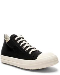 Rick Owens Drkshdw By Canvas Low Sneakers In Blackwhite